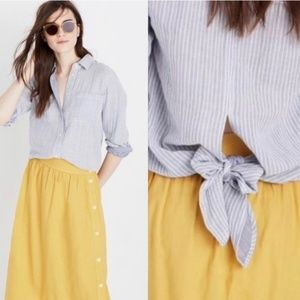 Madewell Blue Striped Tie Back Button-Down Shirt